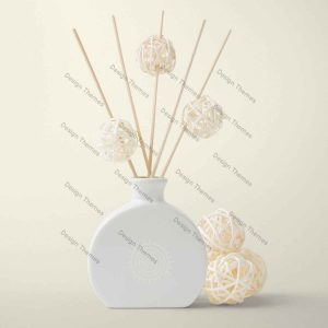 white vase with bamboo ball