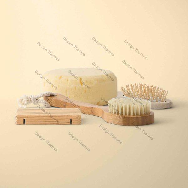 wood comb and yoga sponge